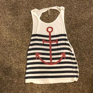 Anchors Faded Blue Striped Large Tank